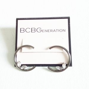 COPY - BCBGeneration Black Half Hoop Earrings